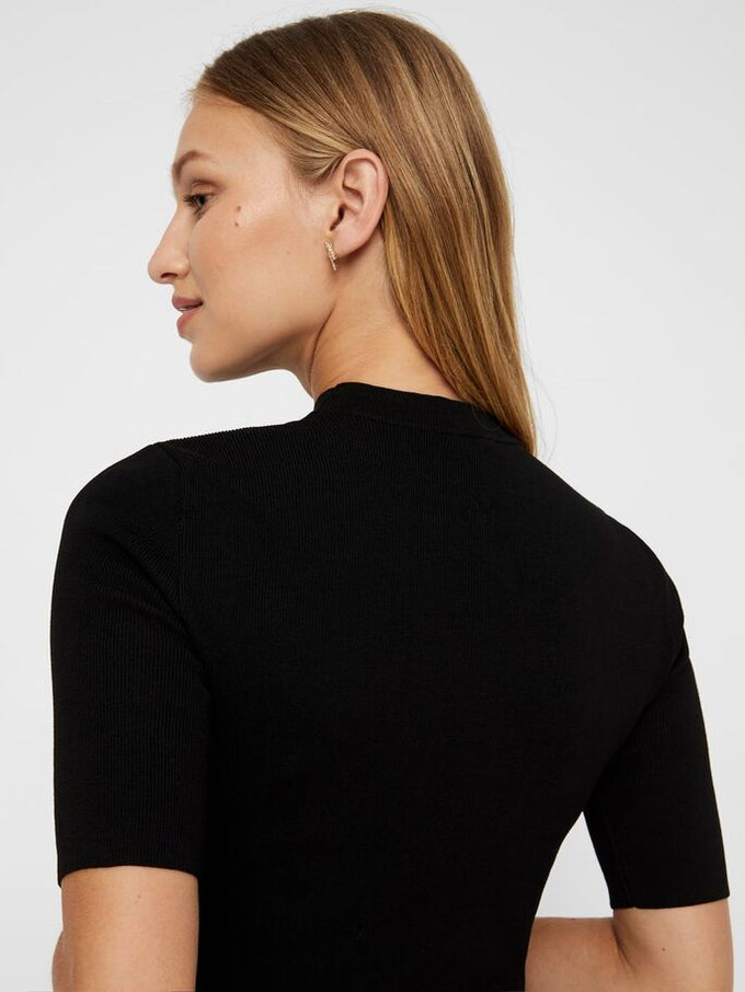 Cropped High Neck Sweater BLACK