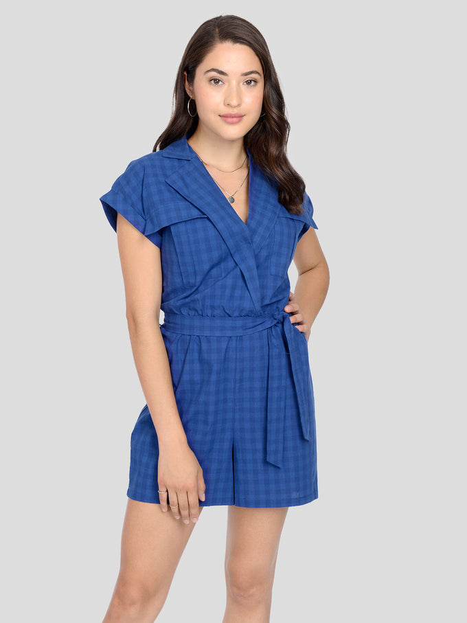 Checkered Print Belted Romper GIBRALTAR SEA