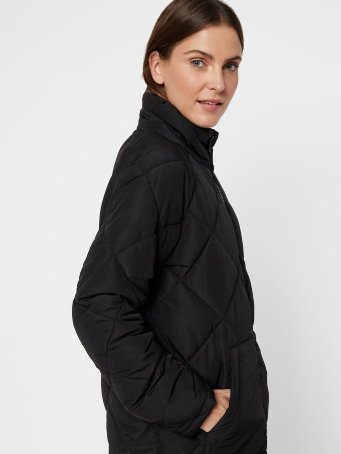 LONG QUILTED PUFFER JACKET BLACK
