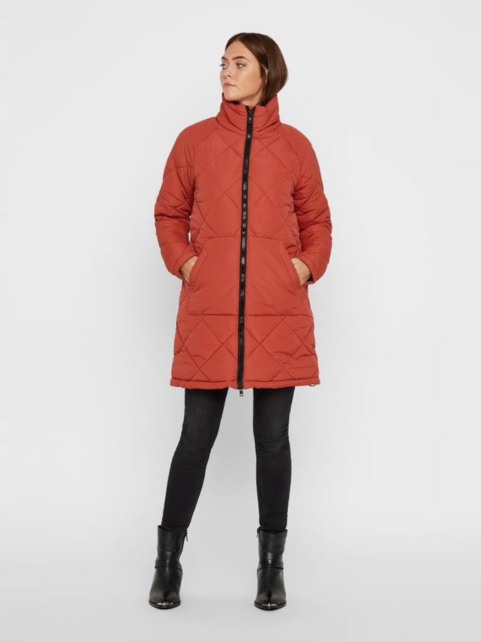 LONG QUILTED PUFFER JACKET TANDORI SPICE