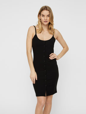RIBBED BODYCON DRESS WITH A BUTTON CLOSURE
