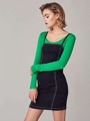 SQUARE-NECK DRESS WITH CONTRASTING PIPING