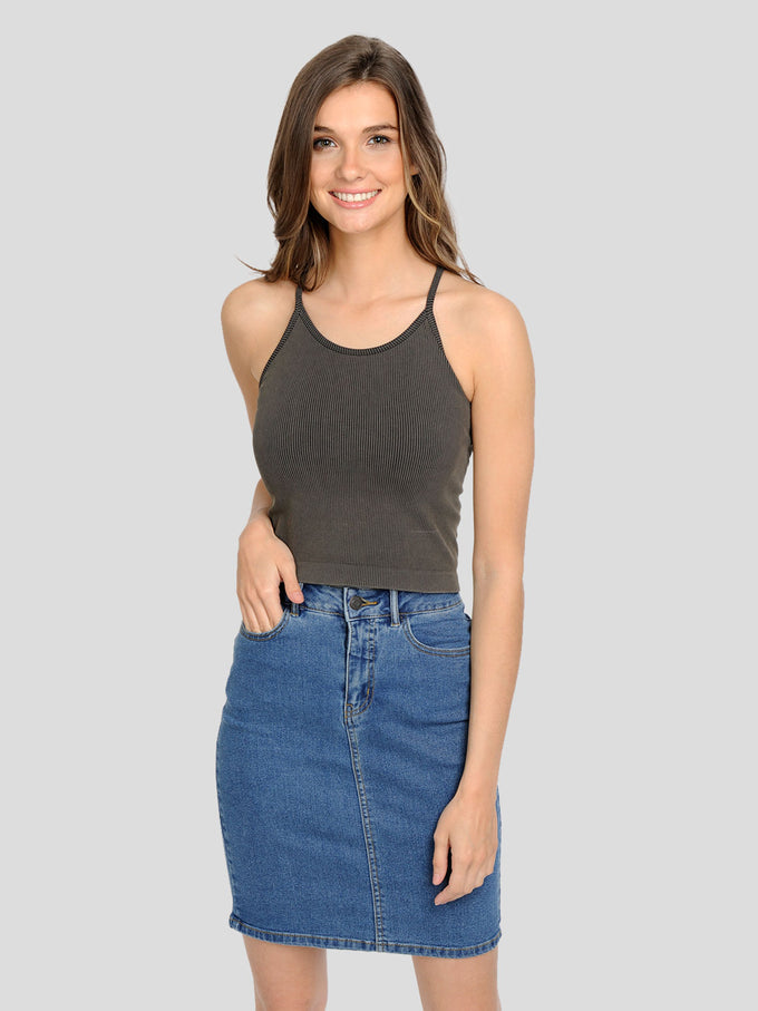 CROPPED RIBBED CAMI KALAMATA