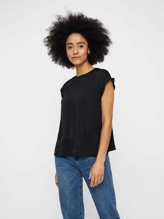SILKY BLOUSE WITH A BACK DETAIL BLACK