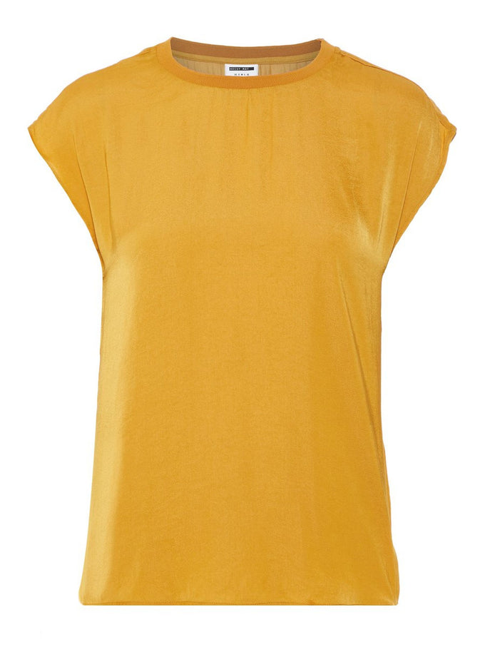 SILKY BLOUSE WITH A BACK DETAIL GOLDEN YELLOW
