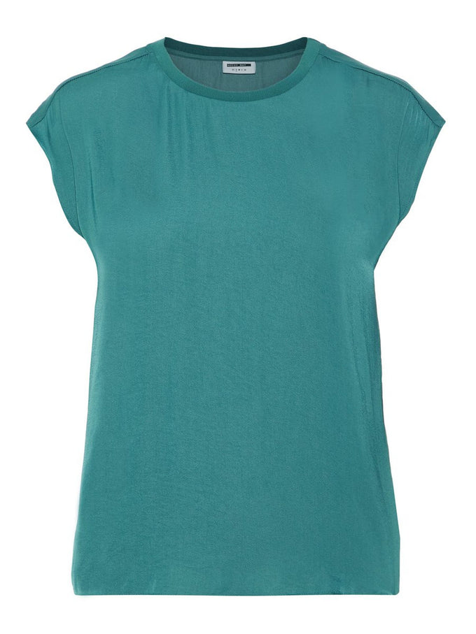 SILKY BLOUSE WITH A BACK DETAIL MALLARD GREEN