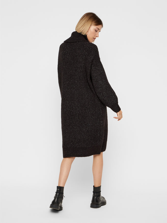 Oversized Turtleneck Sweater Dress DARK GREY MELANGE