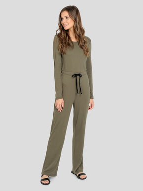 LONG SLEEVE RIBBED JUMPSUIT