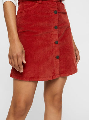 Corduroy Short Skirt With Buttons