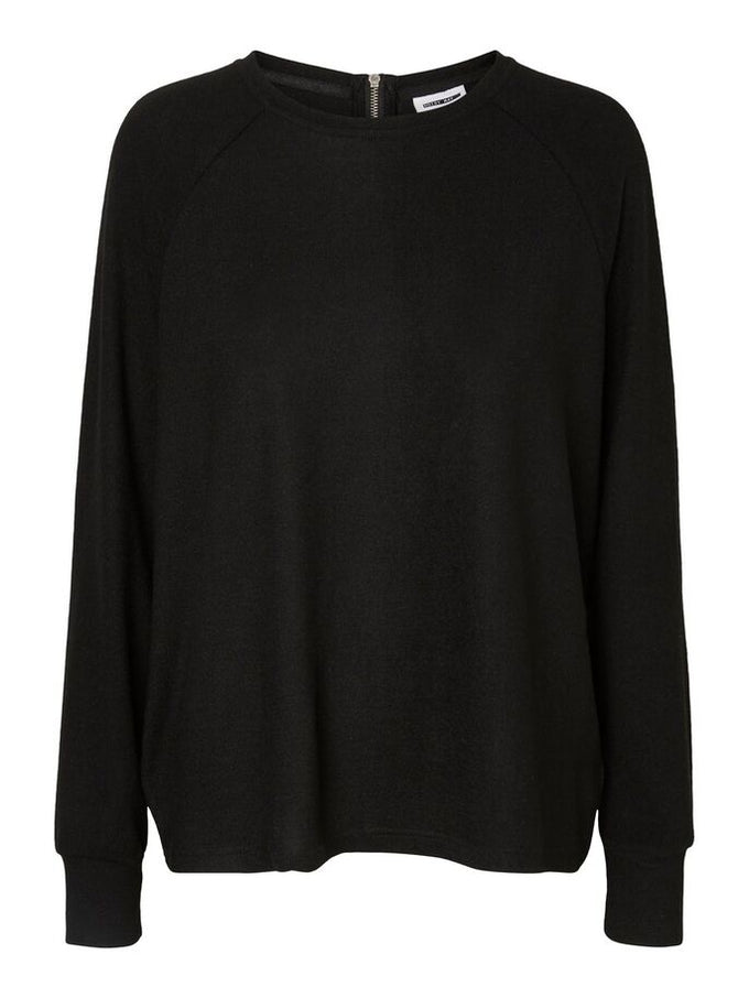 BRUSHED SWEATER WITH ZIPPER DETAIL BLACK