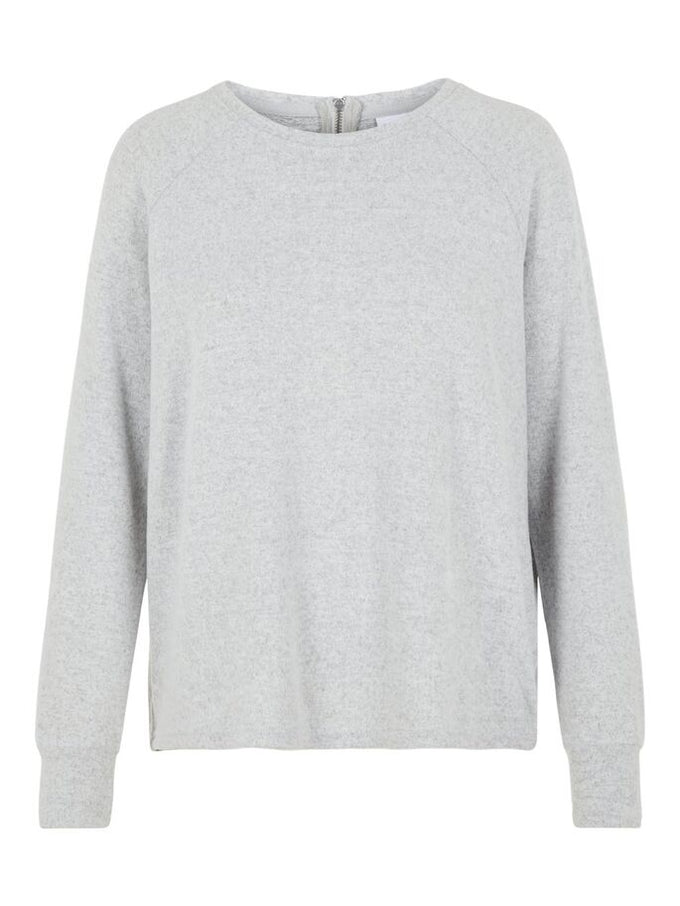 BRUSHED SWEATER WITH ZIPPER DETAIL LIGHT GREY MELANGE