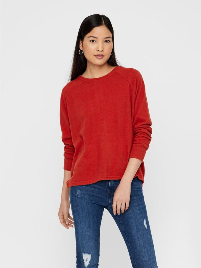 BRUSHED SWEATER WITH ZIPPER DETAIL TANDORI SPICE