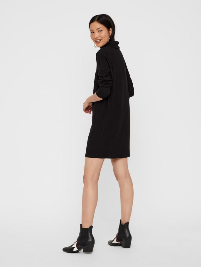 SUPER SOFT BRUSHED SWEATER-DRESS BLACK