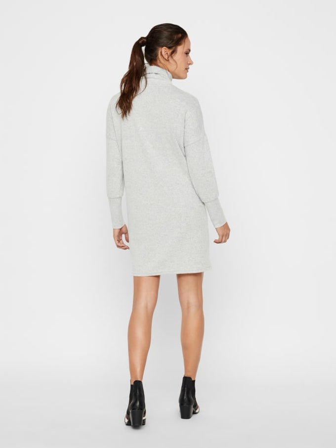 SUPER SOFT BRUSHED SWEATER-DRESS LIGHT GREY MELANGE