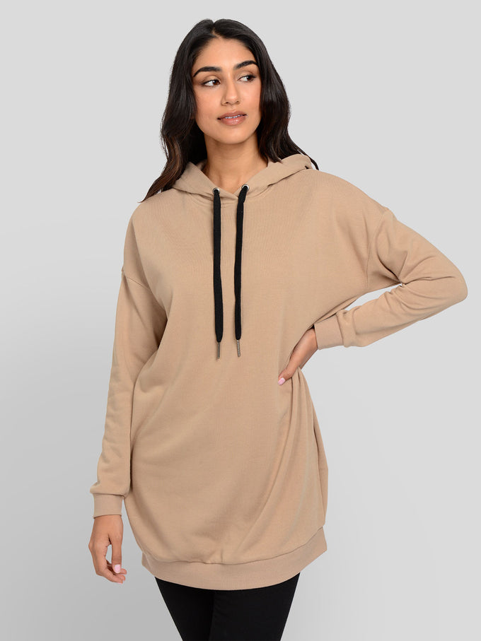 Hooded Sweater Dress Cornstalk