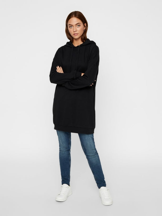 Hooded Sweater Dress BLACK