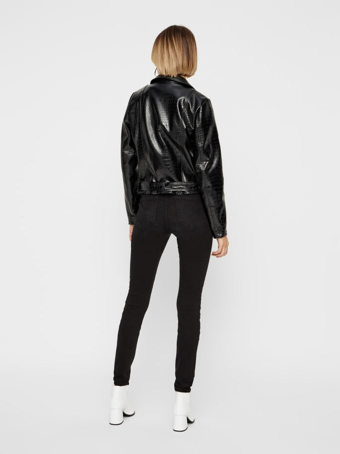 CROC FAUX-LEATHER MOTO JACKET BLACK