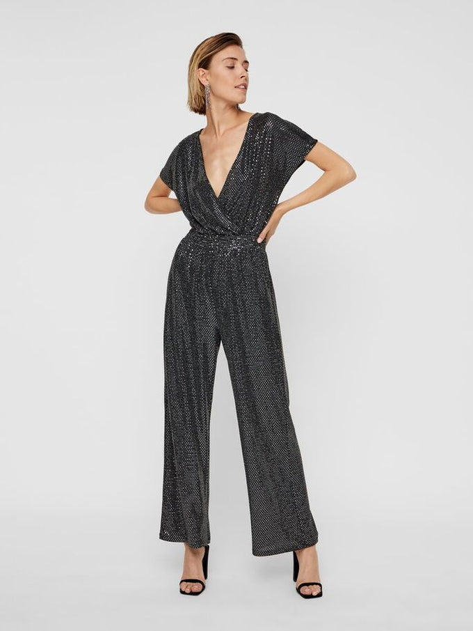 NIGHT SHORT SLEEVE JUMPSUIT Black