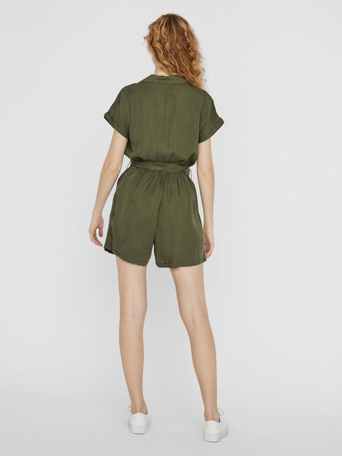 ENDI SHORT SLEEVES BELTED ROMPER OLIVE NIGHT