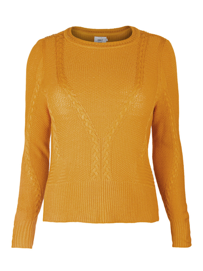 JEMMA LONG SLEEVE CABLE KNIT SWEATER GOLDEN YELLOW