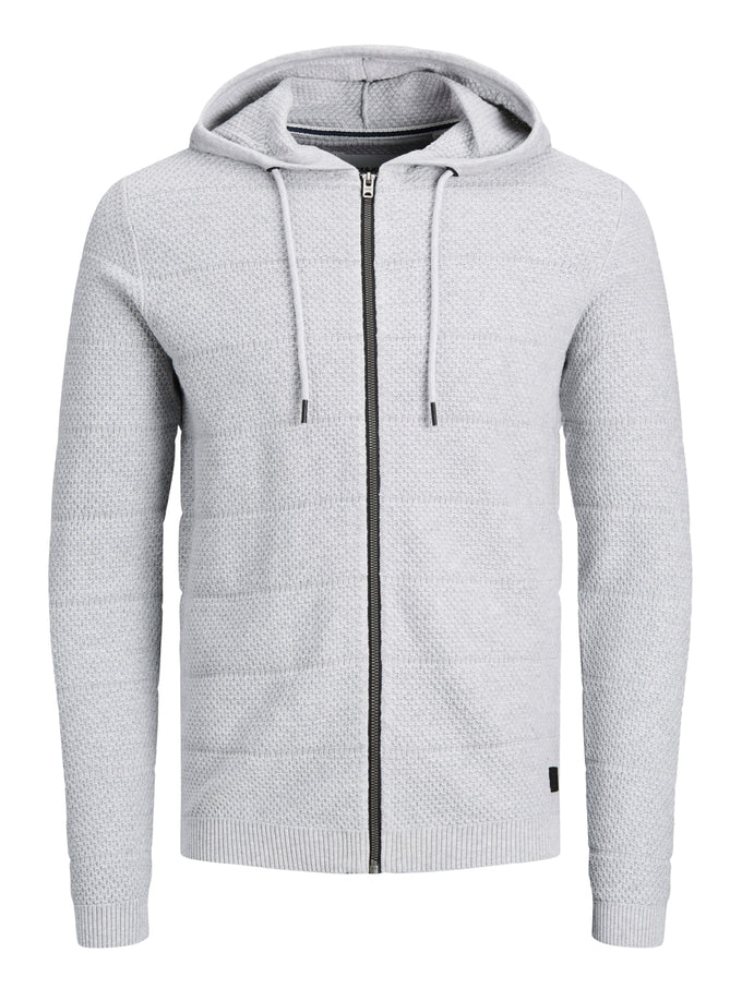 SNOW KNIT HOODIE LIGHT GREY MELANGE