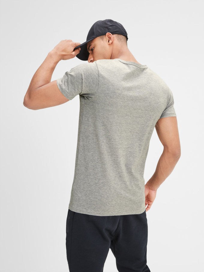 BASIC V-NECK T-SHIRT LIGHT GREY MELANGE