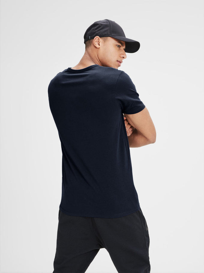 BASIC V-NECK T-SHIRT NAVY BLUE
