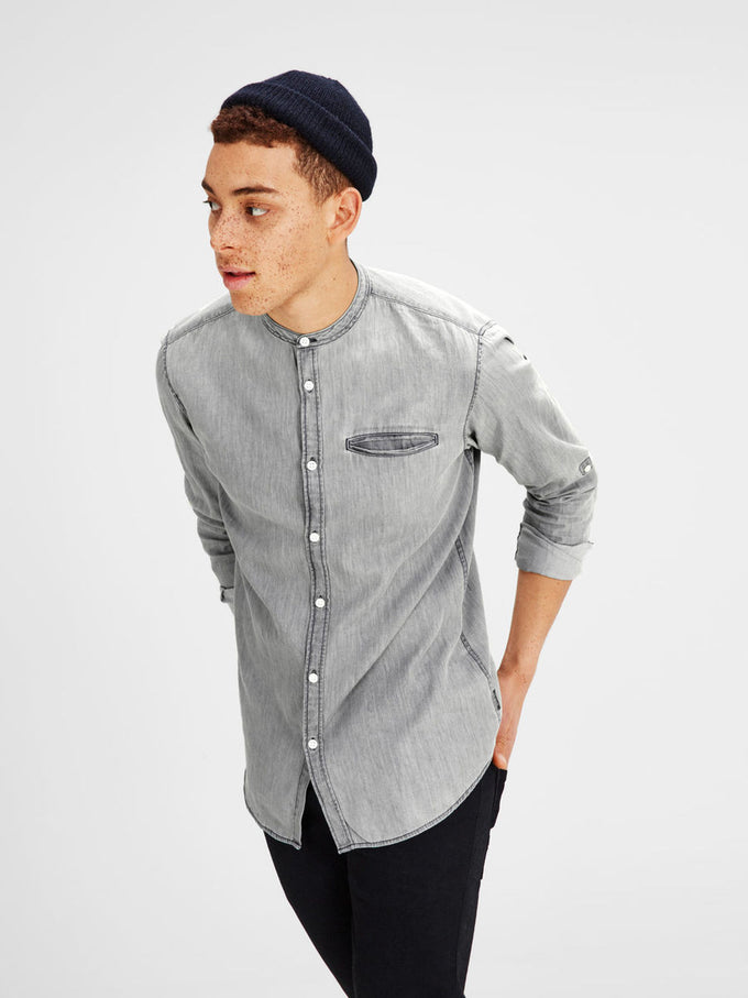 CHEMISE LOOK DENIM COL MANDARIN GRIS DENIM