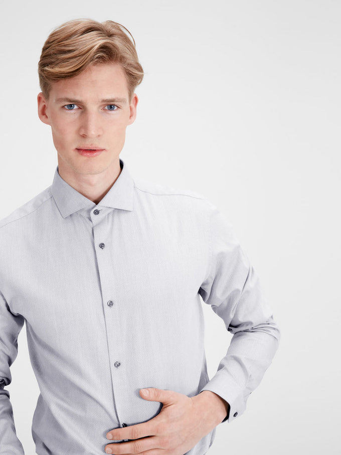 FLARED COLLAR SLIM FIT DRESS SHIRT COOL GREY