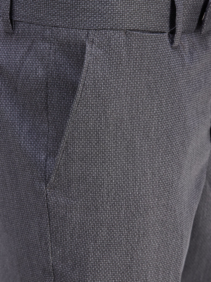 JACQUARD PATTERN DRESS PANTS LIGHT GREY MELANGE