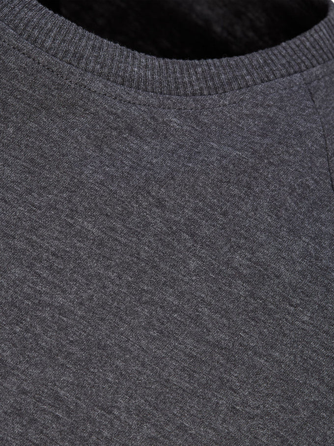 BASIC LONG FIT T-SHIRT WITH RIBBED COLLAR DARK GREY MELANGE
