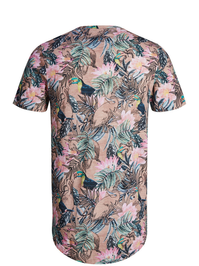 LONG FIT ALL-OVER TROPICAL PRINT T-SHIRT WHITE/PEACH