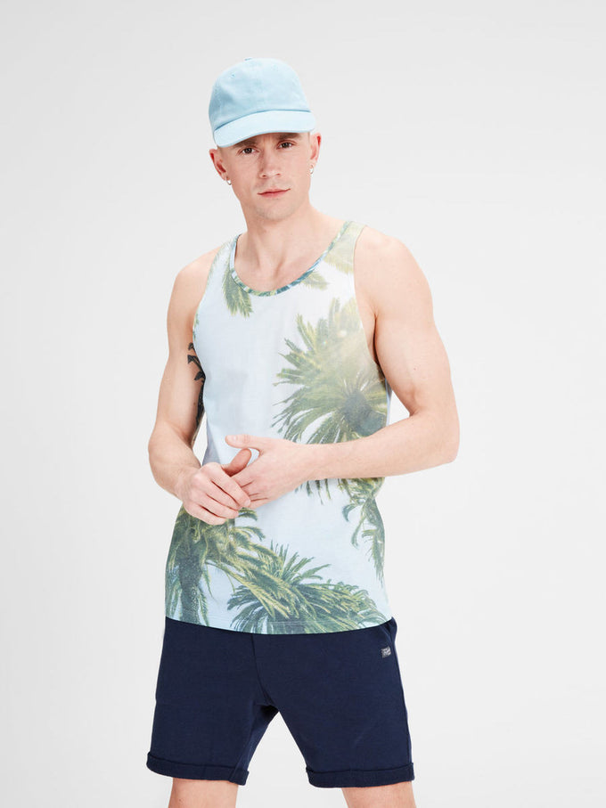 BEACH PHOTO PRINT TANK TOP CLOUD/PALMS