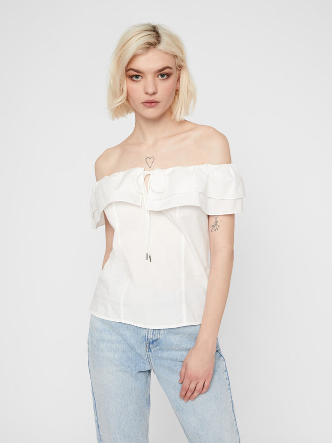 HENNY OFF THE SHOULDER BLOUSE BRIGHT WHITE