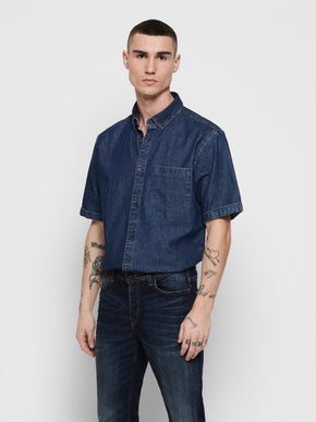 FINAL SALE - BASIC DENIM SHORT SLEEVE SHIRT