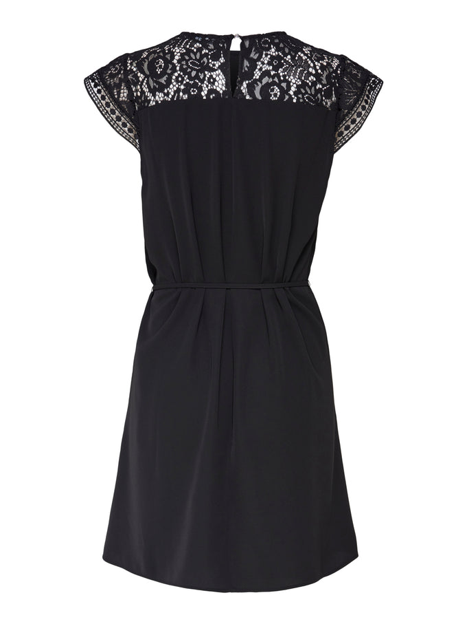 Felicia short sleeves lace dress BLACK