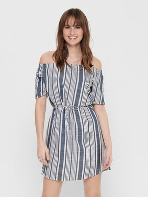 Lavana off shoulder striped dress