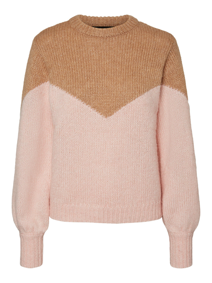 Winnie color block sweater TAN AND PINK