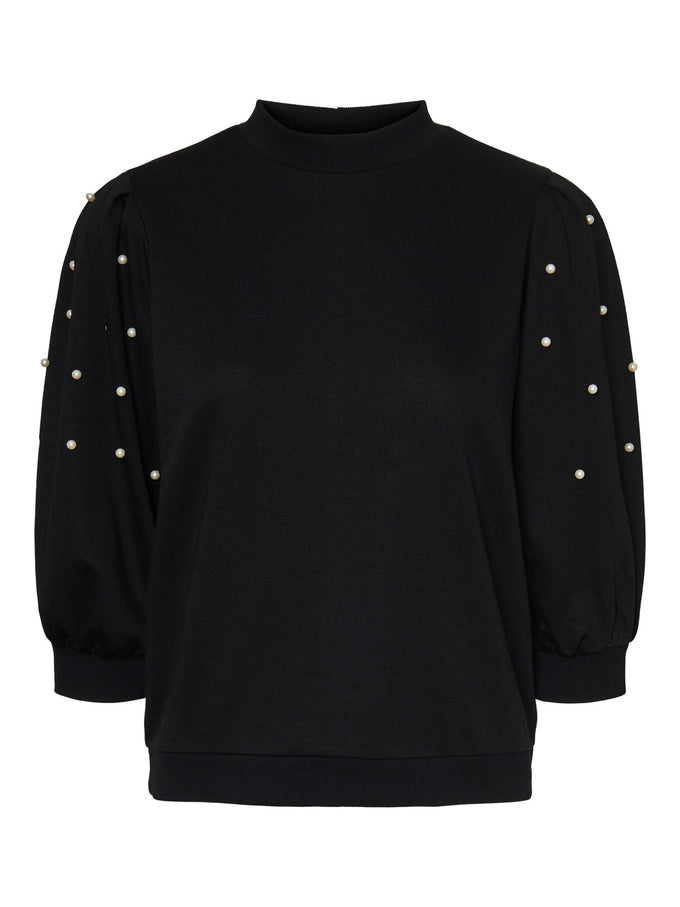 Beckie sweatshirt with pearls BLACK