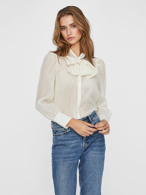 Briana sheer blouse with bow