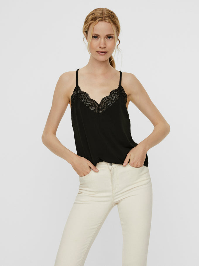 Ana lace cami BLACK