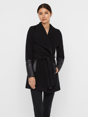 Cala coat with faux leather sleeves