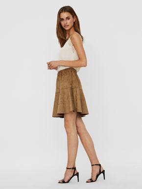 Summer faux suede flare skirt