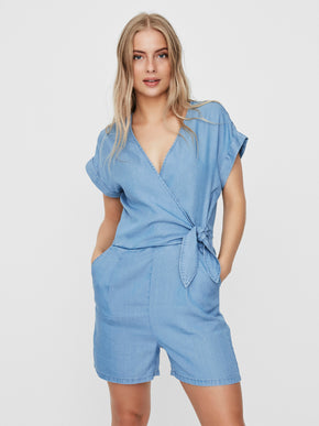 Laura belted wrap romper
