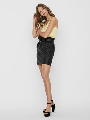Award belted faux-leather skirt