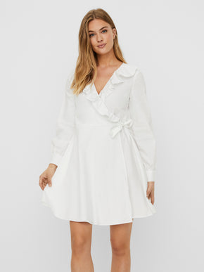Daisy long sleeves frilled wrap dress
