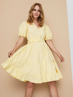 Ruby puff sleeves belted dress