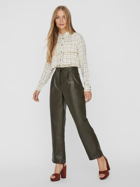 Serena coated straight pants