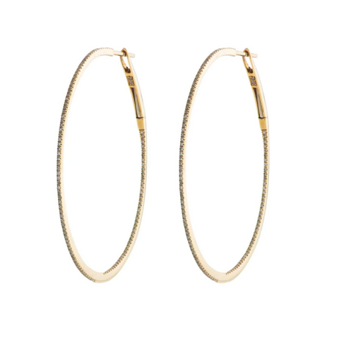large gold and diamond hoops