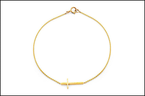 Image of Tiny Gold Cross Bracelet